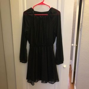 Black with white polka dot long sleeve dress